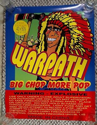 WARPATH INDIAN FIREWORKS PROMO POSTER 4th of July Firecracker