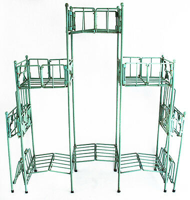 Wire Shelvng Vintage Collapsible w Leaf Ornaments Dusty Green 29 X 22 10 Shelves