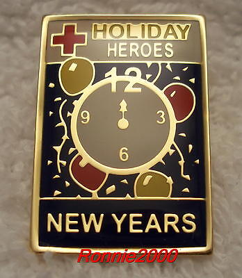 NEW YEARS HOLIDAY HERO (blue background)  American Red Cross pin