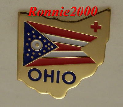 OHIO FLAG AND STATE CHAPTER  American Red Cross pin LAST ONE AVAILABLE!!