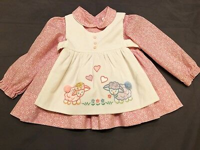 Vintage Baby Girl 2 Pc Pink Calico Dress Corduroy Pinafore Hearts Lambs Easter
