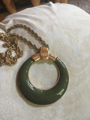 Vintage Olive Green Enamel Medallion Ring Pendant Necklace Huge Signed  C  20""