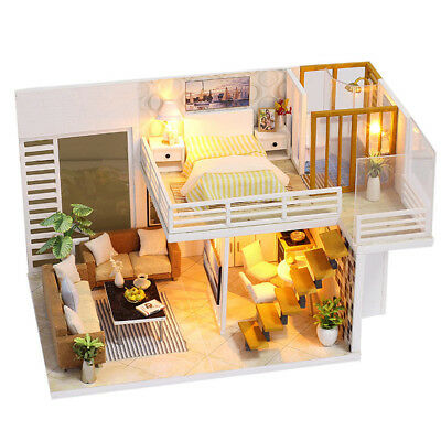 DIY Wooden Toy Doll House Miniature Kit Dollhouse with LED Lights + Dust Cover