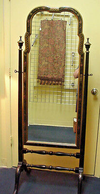 Cheval Floor Mirror Chinoiserie Black Lacquer Hand Painted Asian Floral Gold