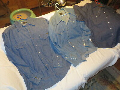 Lot of 3 Vintage Western Denim shirts w/snaps  60's-70's    Check'em!