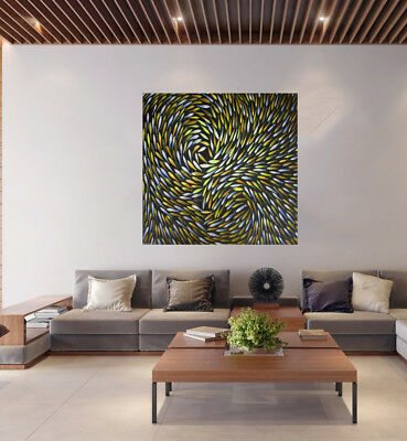 """Art dreaming fish  39' x 39"""" oil painting  By Jane Australia abstract aboriginal"""