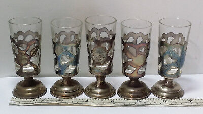 5 Vintage Mexico 925 Sterling Silver Cordial / Shot Glass Insert Cup Set