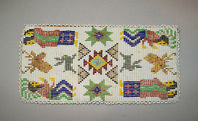Old Vtg Mid 20th C 1930s - 1940s Native American Indian Beaded Leather Wallet
