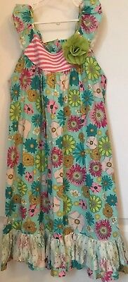 Peaches N Cream Girls Size 8 Dress Floral Teal Turquoise Aqua Blue Lace Pink