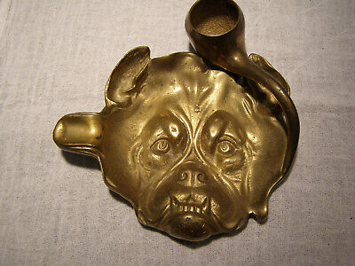 Antique Brass Tobacco Pipe Rest, Ashtray, and Match Holder, Bulldog Terrier