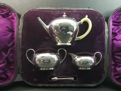 Sterling Silver Tea Set in Velvet Lined Case English Hallmarks 17.1 Troy Ounces