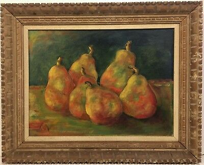 ALEX MALEY 20th c. American STILL LIFE PAINTING OF PEARS Chicago IL Artist 1967