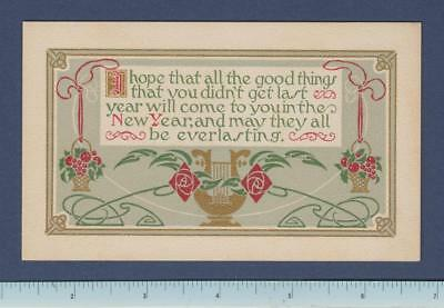 1909 Mission Arts & Crafts New Year's Greeting Card : Mackintosh Roses