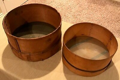 RARE Pair LG Antique Primitive Shaker Wood Sifter Sieve Strainer European 1900