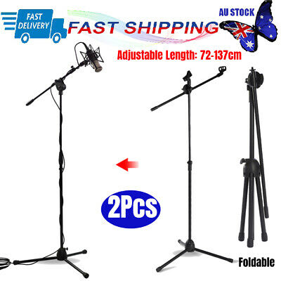 2X Telescopic Boom Microphone Stand Adjustable Mic Holder Tripod Two Clip 1-2m