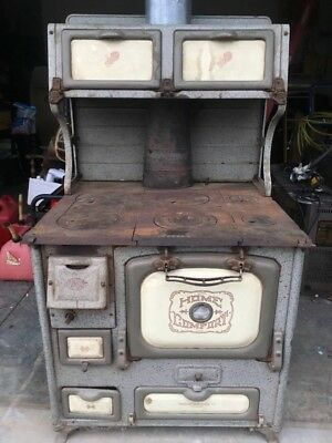 Antique Home Comfort wood burning cook stove Wrought Iron Range Company,