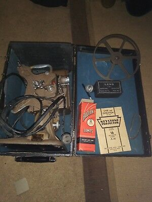 Vintage Keystone A-82 16mm Movie Projector, Film Splicer, w/Reversing ring, Lens