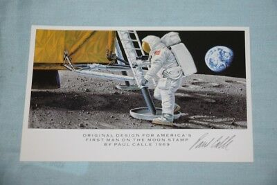 Original design First Man on the Moon Stamp Signed Paul Calle 1969 Postcard Size