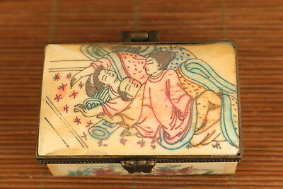 Chinese old painting art belle jewel box statue figure collectable