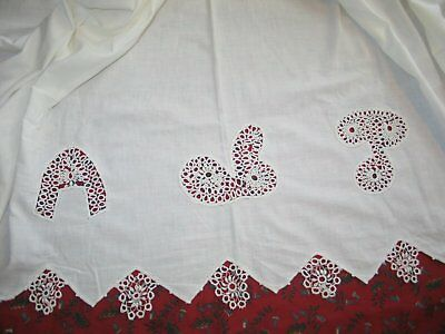 Antique Vintage Bed Sheet-Coverlet-Hand Made Tatted Lace French Country-Cottage