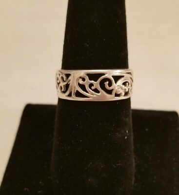 .925 Sterling Silver Lace Ornate Ring Estate Sale Size 8