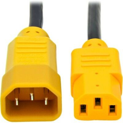 Tripp Lite 4ft Computer Power Cord Extension Cable C14 to C13 Yellow 10A 18AWG 4