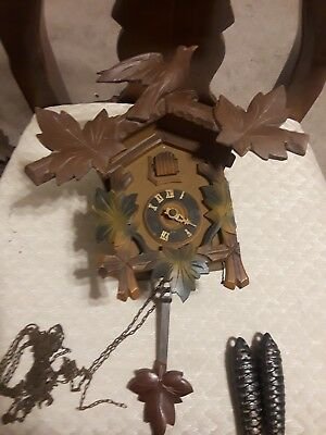 Vtg Brown Forest Cuckoo Clock  Made In West Germany Parts Repair