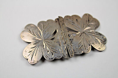 Vintage 830 Silver Belt Buckle with a Four Leaf Clover Design and Marked HCC