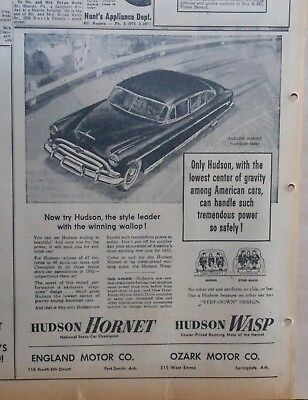 1953 newspaper ad for Hudson - Style leader with the winning wallop! Hornet