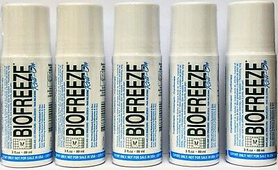 5 Pack - Biofreeze 3 Oz Roll On Gel (Exp 2021) Eu Packaging 3.5% Menthol