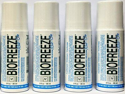 4 Pack - Biofreeze 3 Oz Roll On Gel (Exp 2021) Eu Packaging 3.5% Menthol