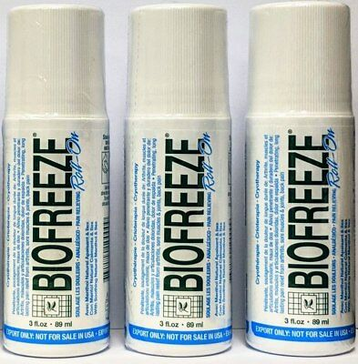 3 Pack - Biofreeze 3 Oz Roll On Gel (Exp 2021) Eu Packaging 3.5% Menthol
