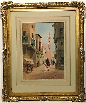 Antique ORIENTALIST WATERCOLOR PAINTING Arab on Camel * EXQUISITE GILT FRAME