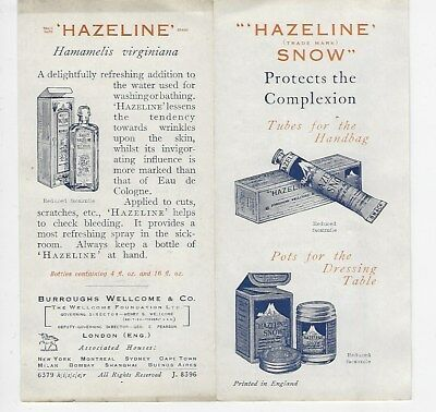 "Advertising leaflet for ""HAZELINE"" complexion cream"