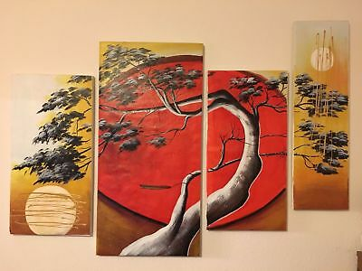 ZOPT524 abstract landscape moon tree hand painted oil painting art canvas