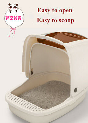 Portable Hooded Cat Toilet Litter Box Tray House With Scoop AU Stock
