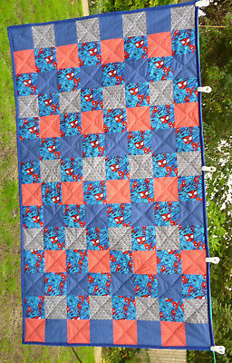 Handmade Patchwork Quilt or Throw Spiderman Blue, Red and Grey Single Bed Size