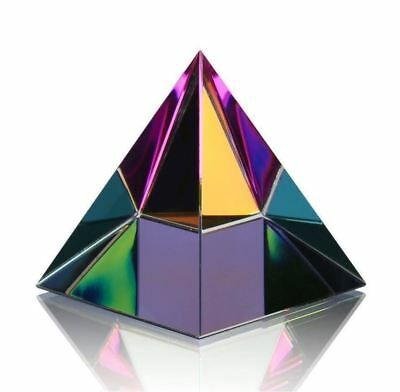 Rainbow Iridescent Pyramid Crystal Healing Prism Optical Science Ornament 60mm