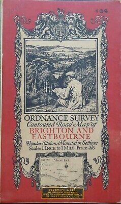 "BRIGHTON & EASTB' 1920 Vintage Ordnance Survey Popular Edition 1"" Map Sheet 134"