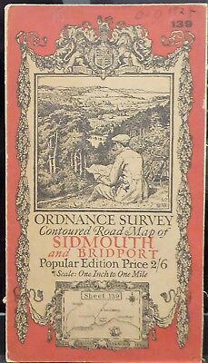 "SIDMOUTH 1919 Vintage Ordnance Survey Popular Edition 1"" Map Sheet 139"