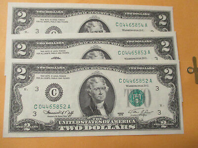 Lot Of 3-1976 $2 Federal Reserve Notes (Consecutive) Gem Bu
