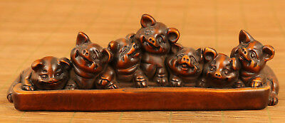 chinese old boxwood hand carved pig statue snuff bottle ornament collectable