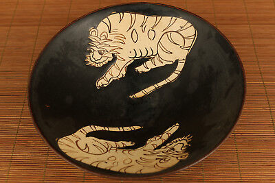unique chinese old porcelain hand carved tiger statue bowl
