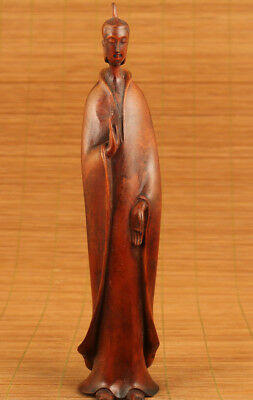 unique chinese old boxwood hand carved buddha guanyin statue figure ornament