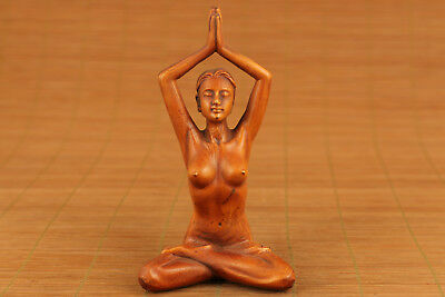 chinese old boxwood hand carved yoga statue collectable netsuke