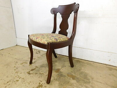 Vintage Antique 19c Empire Style 1940s Solid Mahogany Elegant Sturdy Side Chair