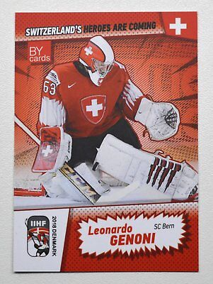 2018 BY cards IIHF WC Team Switzerland #03 Leonardo Genoni
