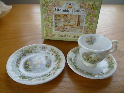 Royal Doulton Brambly Hedge Spring Miniature Cup/Saucer/Plate Boxed