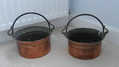 A Pair Of Heavy Decorative Copper Pots With Handles