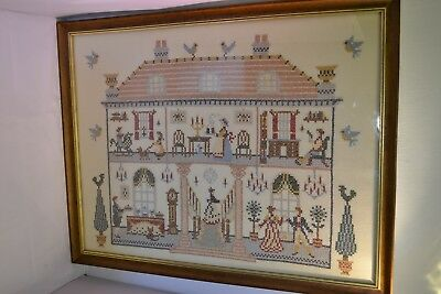 """Vintage Framed Tapestry Embroidered Picture of House 22.5"""" x 17.5"""" **RUGn2sb"""